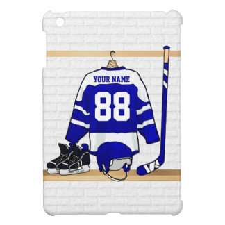 Personalized Blue and White Ice Hockey Jersey Case For The iPad Mini