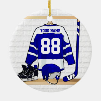 Personalized Blue and White Ice Hockey Jersey Ceramic Ornament