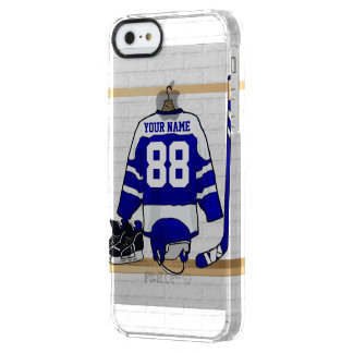 Personalized Blue and White Ice Hockey Jersey Clear iPhone SE/5/5s Case