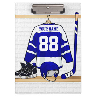Personalized Blue and White Ice Hockey Jersey Clipboard