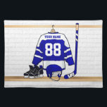 """Personalized Blue and White Ice Hockey Jersey Cloth Placemat<br><div class=""""desc"""">A personalized ice hockey jersey in blue and white hanging in a sports locker room with a helmet, ice skates and an ice hockey stick. The jersey can be fully customized with the number and name of your choice to make a great gift for the ice hockey fan, ice hockey...</div>"""