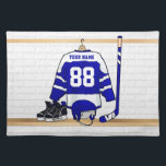 "Personalized Blue and White Ice Hockey Jersey Cloth Placemat<br><div class=""desc"">A personalized ice hockey jersey in blue and white hanging in a sports locker room with a helmet, ice skates and an ice hockey stick. The jersey can be fully customized with the number and name of your choice to make a great gift for the ice hockey fan, ice hockey...</div>"
