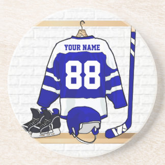 Personalized Blue and White Ice Hockey Jersey Beverage Coaster