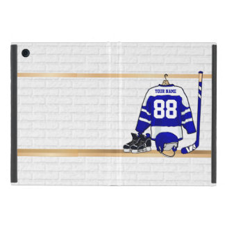 Personalized Blue and White Ice Hockey Jersey Cover For iPad Mini