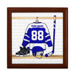 Personalized Blue and White Ice Hockey Jersey Keepsake Boxes
