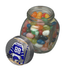 Personalized Blue and White Ice Hockey Jersey Glass Jars at Zazzle