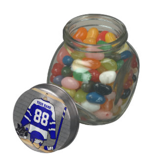 Personalized Blue and White Ice Hockey Jersey Glass Jars