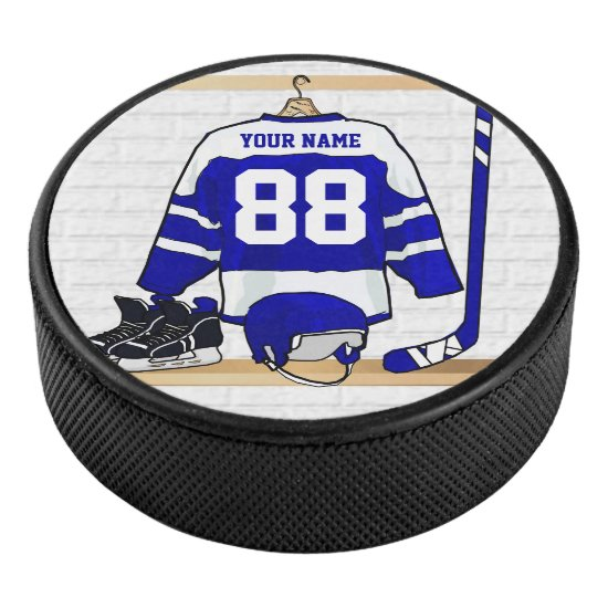 Personalized Blue and White Ice Hockey Jersey Hockey Puck