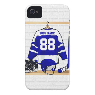 Personalized Blue and White Ice Hockey Jersey iPhone 4 Cover