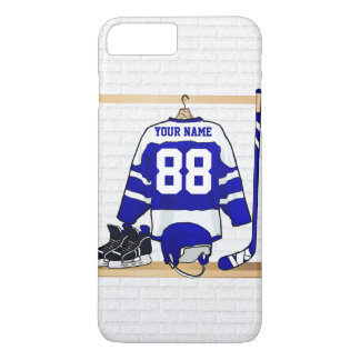 Personalized Blue and White Ice Hockey Jersey iPhone 7 Plus Case