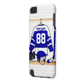 Personalized Blue and White Ice Hockey Jersey iPod Touch 5G Case