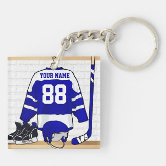 Personalized Blue and White Ice Hockey Jersey Keychain
