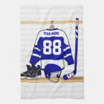 Personalized Blue and White Ice Hockey Jersey Kitchen Towels