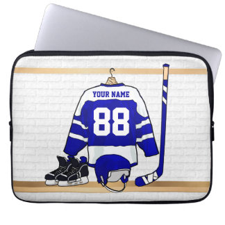 Personalized Blue and White Ice Hockey Jersey Laptop Computer Sleeve