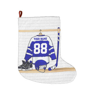 Personalized blue and White Ice Hockey Jersey Large Christmas Stocking