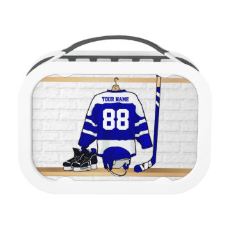 Personalized Blue and White Ice Hockey Jersey Lunch Box