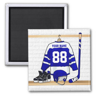 Personalized Blue and White Ice Hockey Jersey Magnet