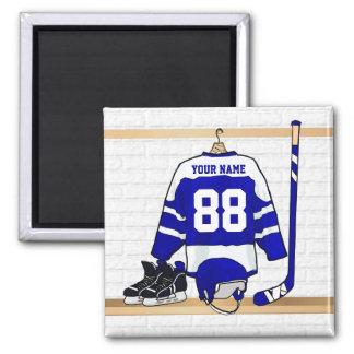 Personalized Blue and White Ice Hockey Jersey Fridge Magnet