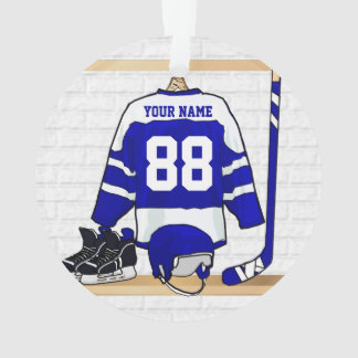 Personalized Blue and White Ice Hockey Jersey Ornament