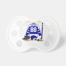 Personalized Blue And White Ice Hockey Jersey Pacifier at Zazzle