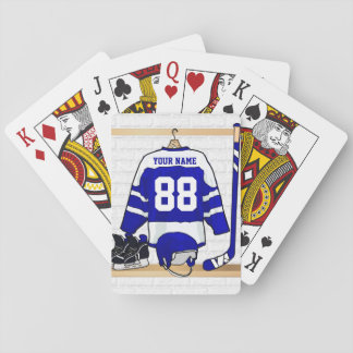 Personalized Blue and White Ice Hockey Jersey Playing Cards