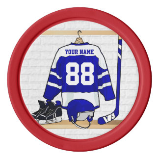 Personalized Blue and White Ice Hockey Jersey Poker Chips Set