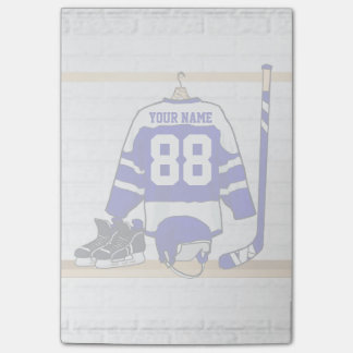 Personalized Blue and White Ice Hockey Jersey Post-it® Notes