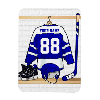 Personalized Blue and White Ice Hockey Jersey Vinyl Magnet