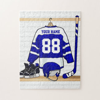 Personalized Blue and White Ice Hockey Jersey Puzzle