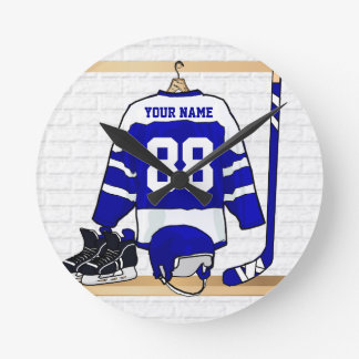 Personalized Blue and White Ice Hockey Jersey Round Clock