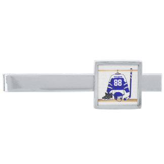 Personalized Blue and White Ice Hockey Jersey Silver Finish Tie Clip
