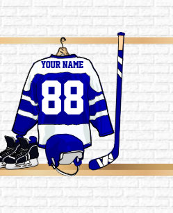 833386c4a Personalized blue and White Ice Hockey Jersey Small Christmas Stocking