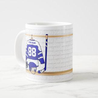 Personalized Blue and White Ice Hockey Jersey 20 Oz Large Ceramic Coffee Mug
