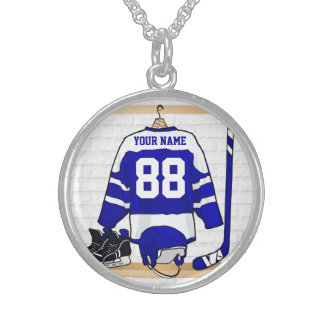 Personalized Blue and White Ice Hockey Jersey Sterling Silver Necklace