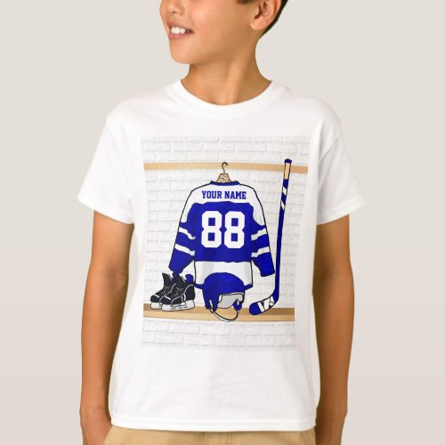 Personalized Blue and White Ice Hockey Jersey T_Shirt