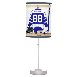 Personalized Blue and White Ice Hockey Jersey Table Lamp