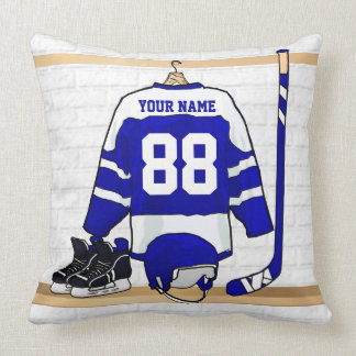 Personalized Blue and White Ice Hockey Jersey Throw Pillow