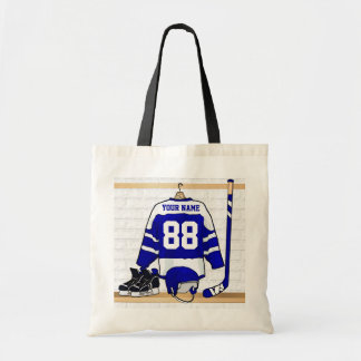 Personalized Blue and White Ice Hockey Jersey Tote Bag
