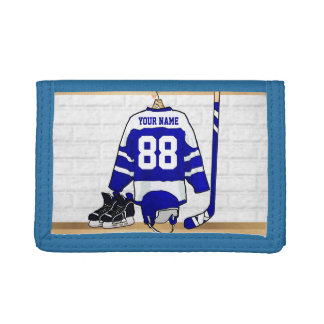 Personalized Blue and White Ice Hockey Jersey Tri-fold Wallet