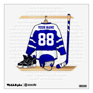 Personalized Blue and White Ice Hockey Jersey Room Sticker