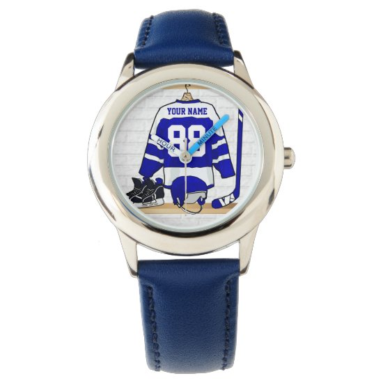 Personalized Blue and White Ice Hockey Jersey Wrist Watch