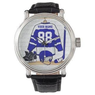 Personalized Blue and White Ice Hockey Jersey Wristwatch
