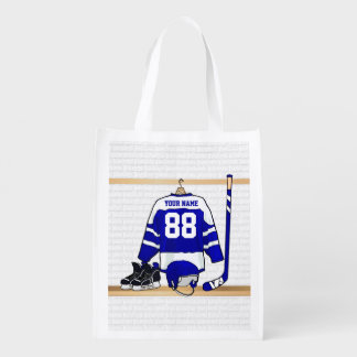 Personalized Blue and White Ice Hockey Jersey Grocery Bag