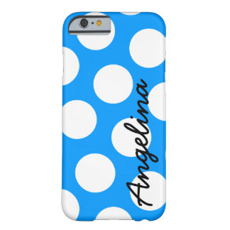 Personalized Blue and White Polka Dot Barely There iPhone 6 Case