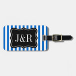 Personalized blue and white striped luggage tag bag tag