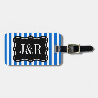 Personalized blue and white striped luggage tag