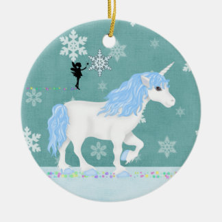 Personalized Blue and White Unicorn and Fairy Ceramic Ornament