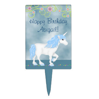 Personalized Blue and White Unicorn Happy Birthday Cake Topper