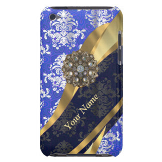 Personalized blue and white vintage damask pattern iPod touch Case-Mate case