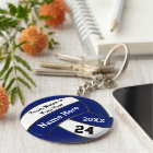 Personalized Blue and White Volleyball Keychains